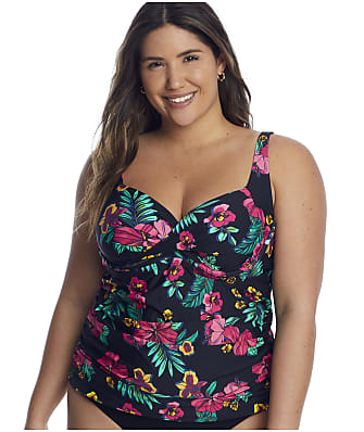 Birdsong Plus Size Polynesian Floral Shirred Underwire Tankini Top
