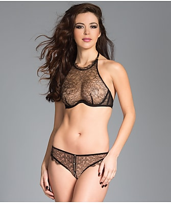 Be Wicked High Neck Lace Bra & Crotchless Panty Set