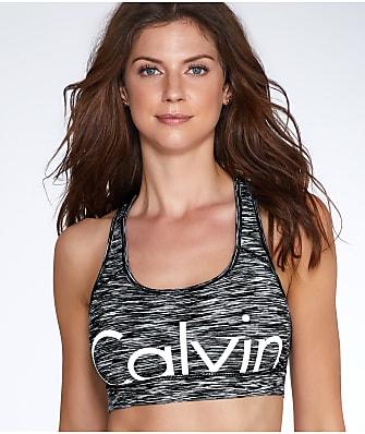 Calvin Klein Cut-Off Logo Mid-Impact Wire-Free Sports Bra
