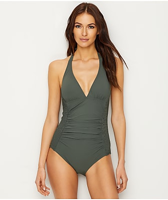 Carmen Marc Valvo Waterfall Smock Halter One-Piece
