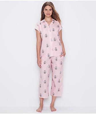 The Cat's Pajamas Queen Bee Luxe Pima Woven Capri Pajama Set