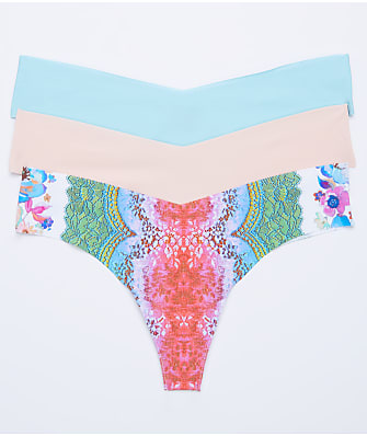 Commando Low Rise Pink Floral Thong 3-Pack