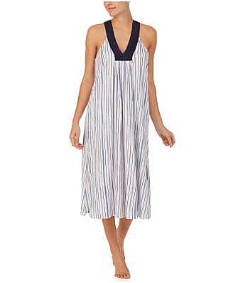 Donna Karan Sleepwear White Stripe Cotton Luxe Nightgown