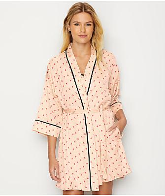 DKNY Read My Lips Satin Kimono Robe