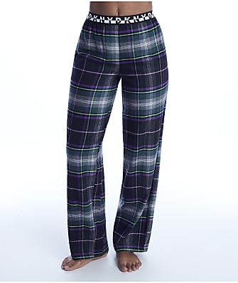 DKNY Black Plaid Knit Pajama Pants