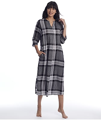 Donna Karan Black Plaid Woven Maxi Sleep Shirt