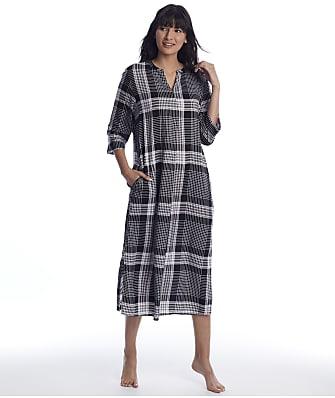 Donna Karan Sleepwear Black Plaid Woven Maxi Sleep Shirt