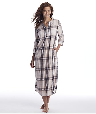 Donna Karan Shell Heather Plaid Maxi Sleep Shirt