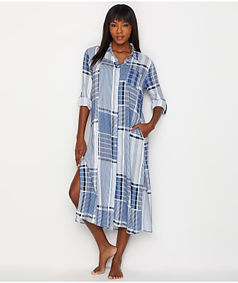 Donna Karan Broken Symmetry Woven Maxi Sleep Shirt
