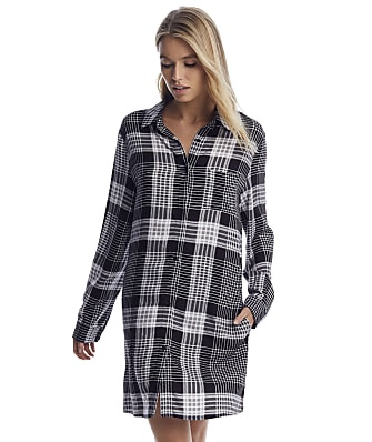 Donna Karan Black Plaid Woven Sleep Shirt