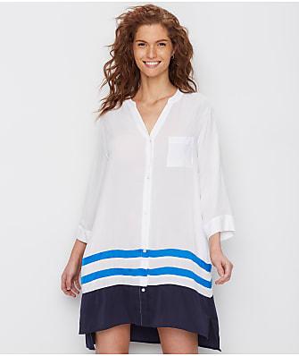 Donna Karan Escape Striped Woven Sleep Shirt