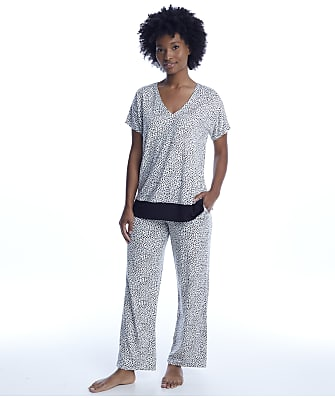 Donna Karan Cream Animal Print Pajama Set