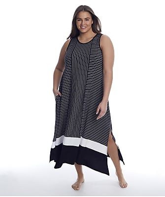 Donna Karan Sleepwear Plus Size Get In Line Modal Long Gown