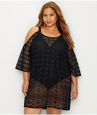 Dotti Plus Size Boho Cold-Shoulder Cover-Up