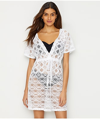 Dotti Scalloped Crochet Hooded Cover-Up