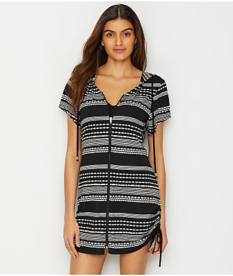 Dotti Ibiza Stripe Hooded Swim Cover-Up