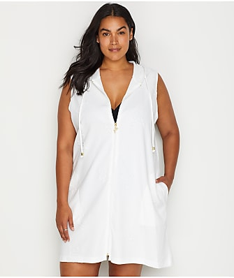 Dotti Plus Size Flamingo Zip-Up Cover-Up