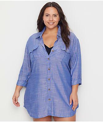 Dotti Plus Size Travel Muse Chambray Shirt Cover-Up