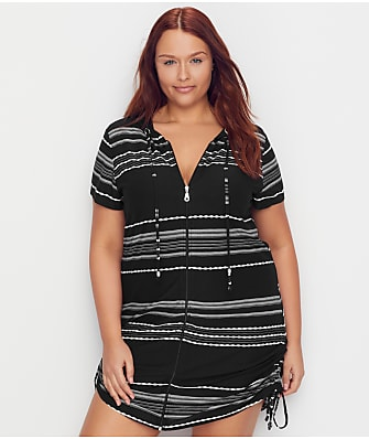Dotti Plus Size Dahlia Stripe Hooded Cover-Up