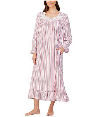Eileen West Wine Stripe Ballet Flannel Nightgown