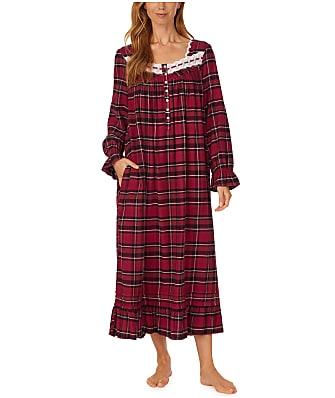 Eileen West Berry Plaid Ballet Flannel Nightgown