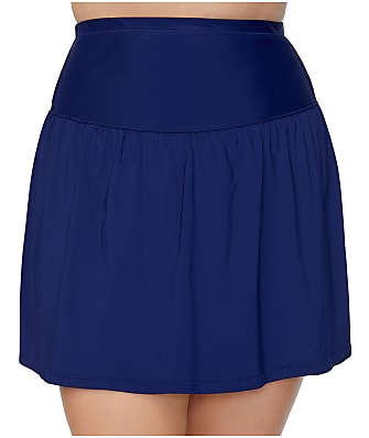 Leilani Plus Size Solids Control Skirted Bikini Bottom