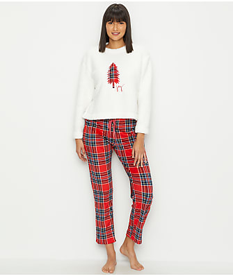 ED Ellen DeGeneres Plaid Joy Sherpa Pajama Set
