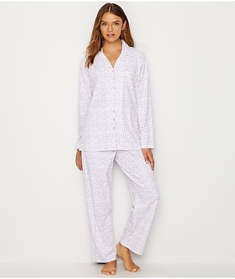 Eileen West Notch Collar Lilac Knit Pajama Set