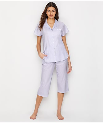 Eileen West Jersey Knit Cropped Pajama Set