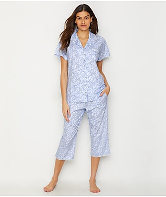 Eileen West Floral Jersey Knit Cropped Pajama Set