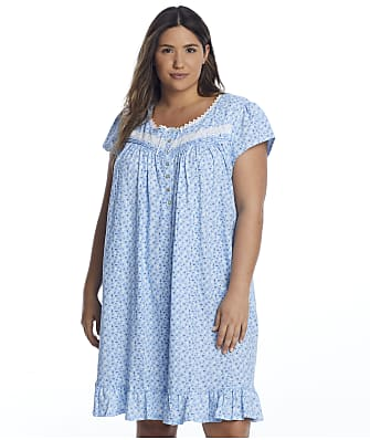 Eileen West Plus Size Blue Floral Knit Chemise