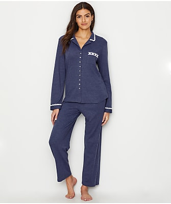 Eileen West Notch Collar Heathered Knit Pajama Set