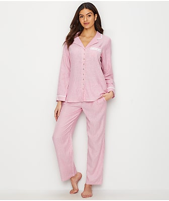 Eileen West Notch Collar Flannel Pajama Set