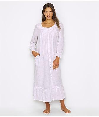 Eileen West Floral Woven Ballet Button-Down Nightgown
