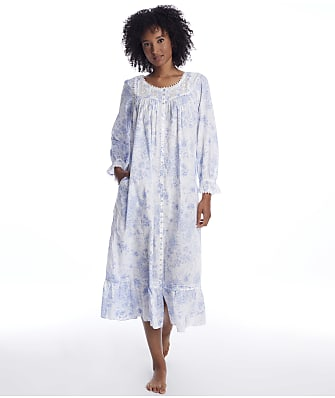 Eileen West Blue Danube Ballet Button Front Woven Nightgown