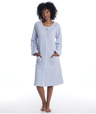 Eileen West Quilted Long Zip Plush Robe