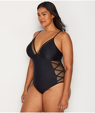 a317c16fd97e6 Eloquii Plus Size Lace-Up Fishnet One-Piece
