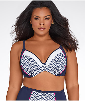 Elomi Plus Size Chevron Multi-Way Bikini Top