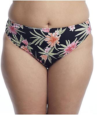 Elomi Plus Size Dark Tropic Mid-Rise Bikini Bottom