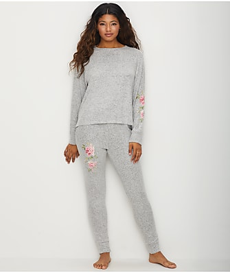 Flora Nikrooz Brushed Knit Embroidered Pajama Set