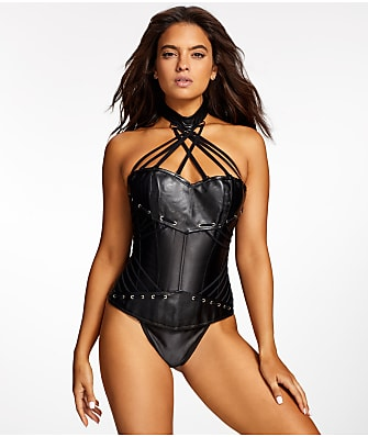 Frederick's of Hollywood Ramona Faux Leather Corset Set