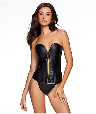 Frederick's of Hollywood Angelene Faux Leather Corset Set