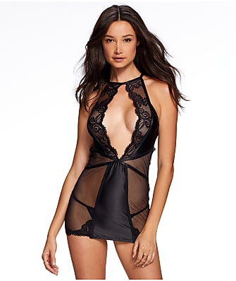 Frederick's of Hollywood Marina Satin, Lace & Mesh Chemise Set