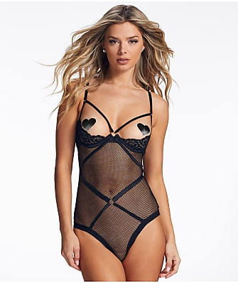 Frederick's of Hollywood Analia Open Cup Fishnet Teddy
