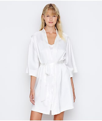 Ginia Embroidered Trim Satin Robe