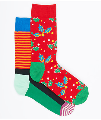 Happy Socks Holiday Cracker Holly Berry Crew Socks 2-Pack