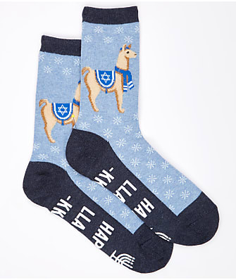 Hot Sox Happy Llamakkah Non-Skid Crew Socks