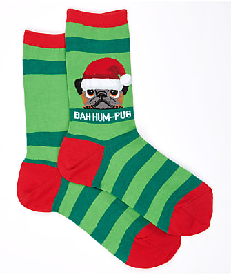 Hot Sox Bah Hum-Pug Crew Socks