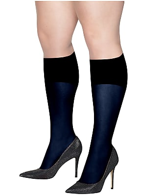 Hanes Plus Size Curves Opaque Knee Highs