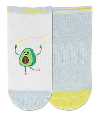 Hot Sox Jump Rope Avocado Low Cut Socks 2-Pack